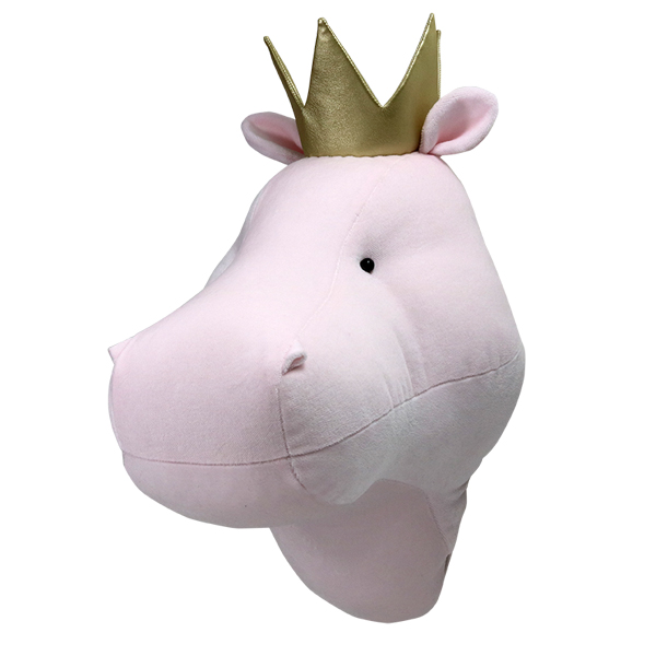 Pink hippo with a crown