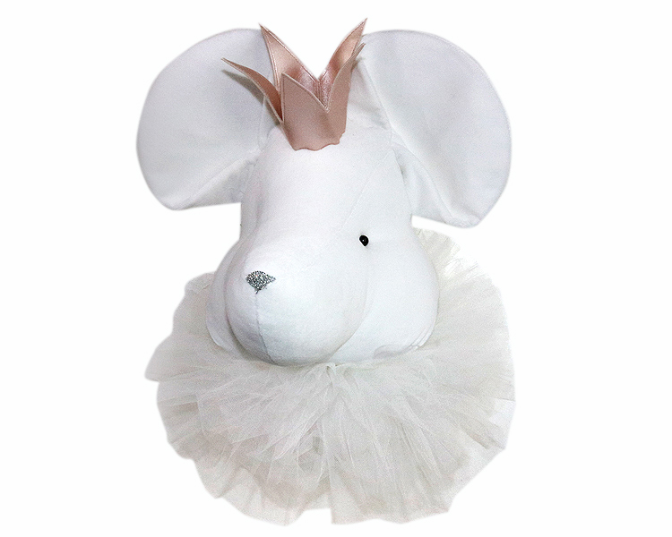 White mouse with a crown and a white collar