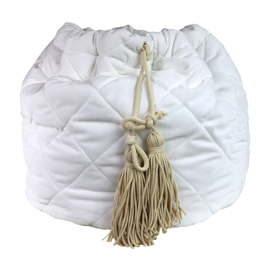 White velvet quikted toy bag