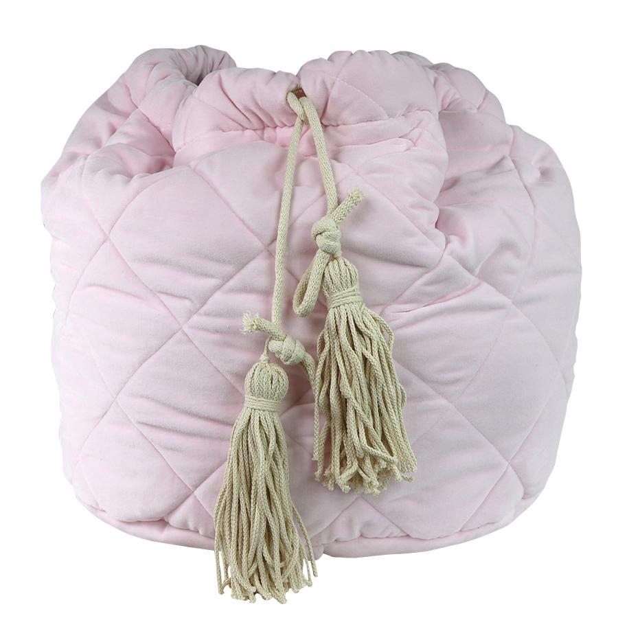 Pink velvet quikted toy bag