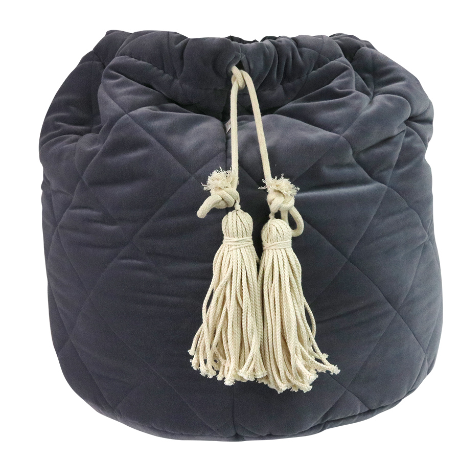 Grey velvet quikted toy bag