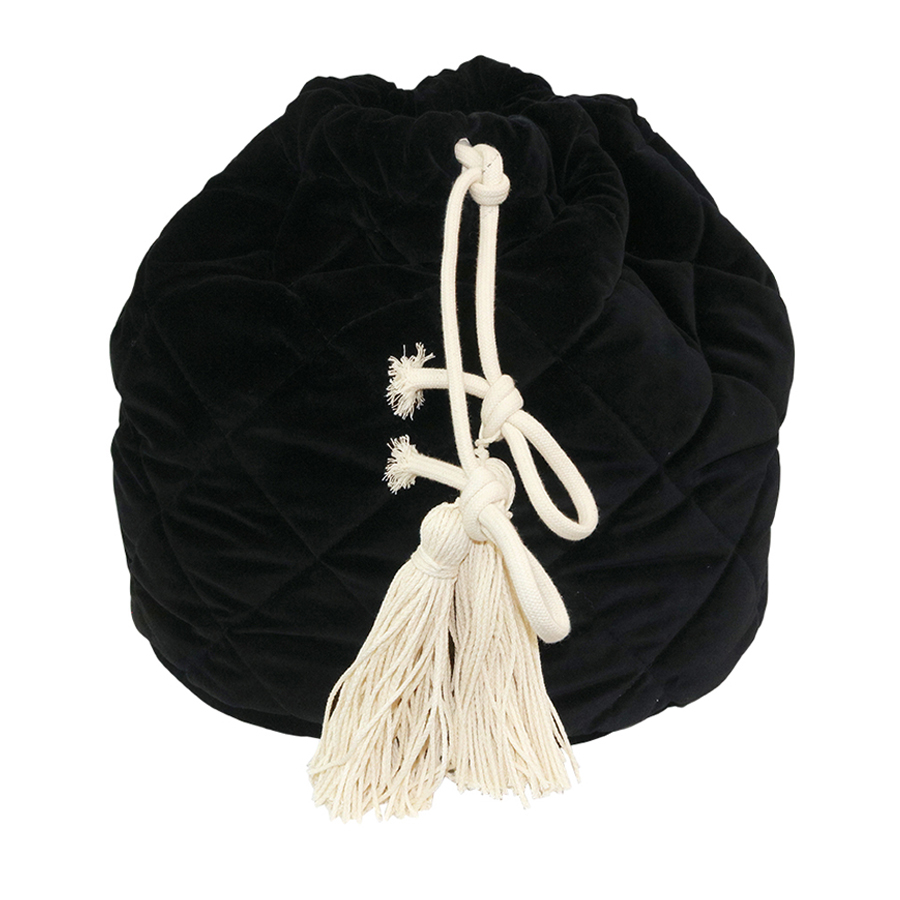 Black velvet quikted toy bag