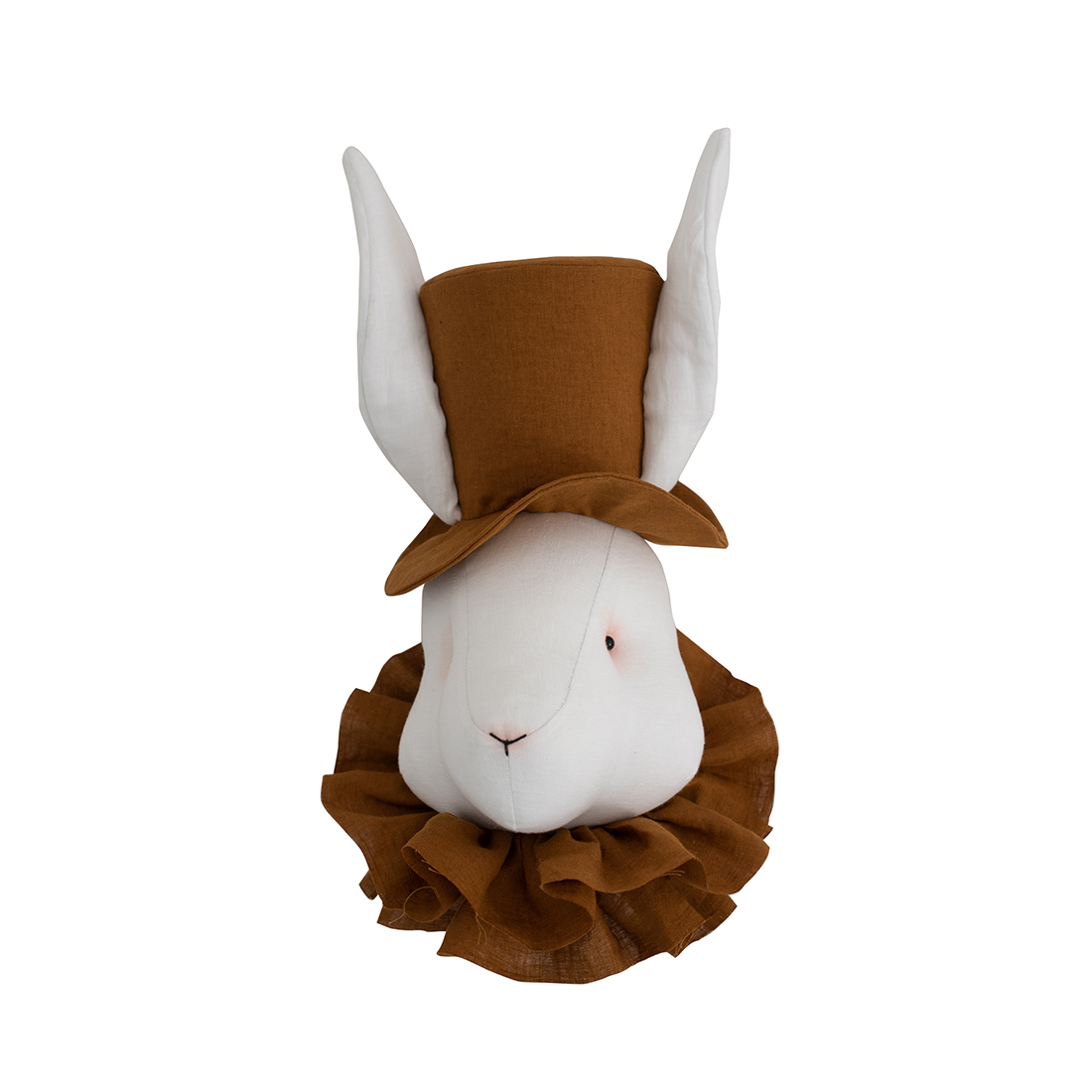 Linen rabbit with a mustard hat