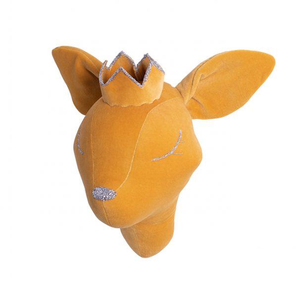 Mustard velvet deer with a crown
