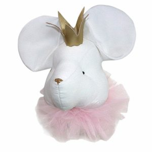 White mouse with a crown and a pink collar