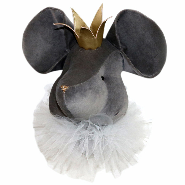 Grey mouse with a crown and a white collar