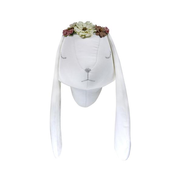White velvet rabbit with wreath