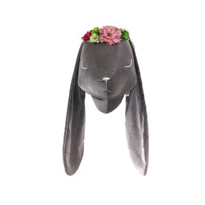 Grey velvet rabbit with wreath