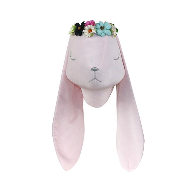Pink velvet rabbit with wreath