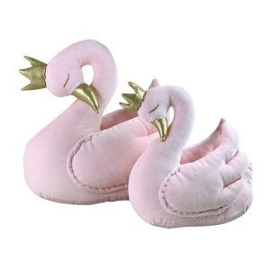 Pink velvet swan with a crown