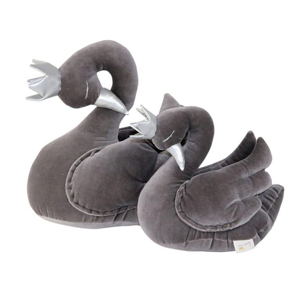 Light grey velvet swan with a crown
