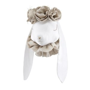 Linen rabbit with beige flowers